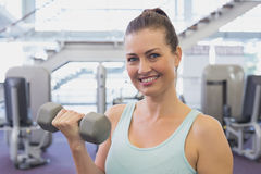 Fit brunette holding grey dumbbell Royalty Free Stock Photography