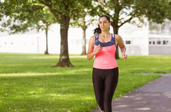 Fit brunette jogging in the park Royalty Free Stock Images