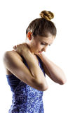 Fit brunette with neck injury Royalty Free Stock Photography
