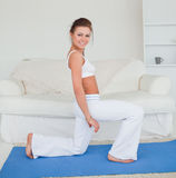 Fit brunette practicing yoga Stock Image