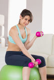 Fit brunette sitting on exercise ball lifting hand weights Royalty Free Stock Photos