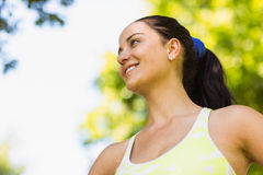 Fit brunette smiling in the park Royalty Free Stock Images