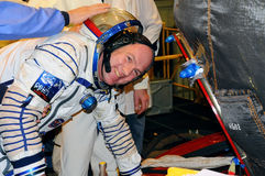 Before Fit Check. ISS Expedition 31 ESA crewmember Andre Kuipers flashes a smile as he boards Soyuz TMA-03M spacecraft before fit check on the 9th of December Stock Photography