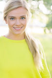 Fit cheerful blonde looking at camera Royalty Free Stock Photos