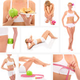 Fit collage. A collage of eight pictures presenting a beautiful fit woman taking good care of her body Royalty Free Stock Photo