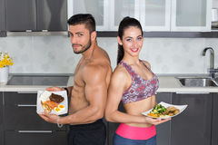 Fit couple - animal versus plant proteins Stock Photos