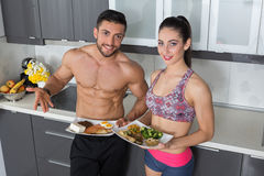 Fit couple - animal versus plant proteins Royalty Free Stock Photos