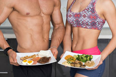 Fit couple - animal versus plant proteins Stock Images