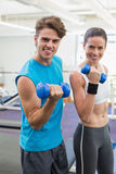 Fit couple exercising together with blue dumbbells Stock Image