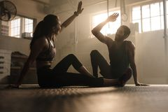 Fit couple high five after workout in health club. Fitness men and women giving each other a high five after the training session in gym. Fit couple high five stock image