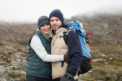 Fit couple on a hike Stock Images