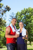 Fit couple in the park Royalty Free Stock Images