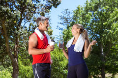 Fit couple in the park. On a sunny day Stock Photo