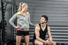 Fit couple smiling at each other Royalty Free Stock Photo