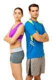 Fit Couple In Sports Clothing Standing Back To Back Stock Images