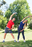 Fit couple stretching in the park Stock Photography