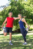 Fit couple stretching in the park Royalty Free Stock Images