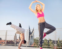 Fit couple during the training Royalty Free Stock Photos
