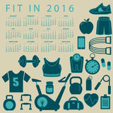 Fit in 2016 creative colorful calendar. With fitness icons stock illustration