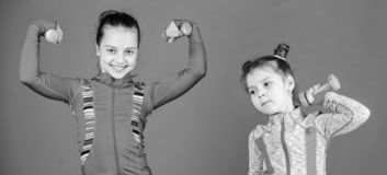 Fit cuties. Small girls enjoy fitness training with weights. Cute sisters doing gym fitness exercises with dumbbells royalty free stock photo