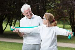 Fit elderly male and female Stock Photography