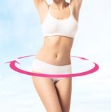 Fit female body with arrows around it Stock Image
