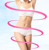 Fit female body with arrows around it Royalty Free Stock Photo