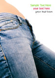 Fit female butt in blue jeans, isolated on white. Torso of topless girl in  blue jeans ,  on white Royalty Free Stock Images