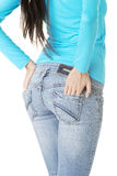 Fit female in jeans Royalty Free Stock Image