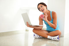 Fit female on diet working on computer Stock Photos