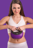 Fit Female with Kettle Bell Weight Stock Photo