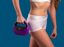 Fit Female with Kettle Bell Weight Stock Images