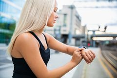 Fit Female Monitoring Her Performance On Smartwatch After Workou Royalty Free Stock Photo