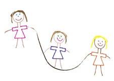 fit flickor håller överhopp till royaltyfri illustrationer