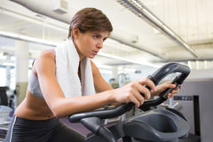 Fit focused brunette working out on the exercise bike Stock Photos