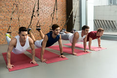 Fit four men training body in gym. Happy young athletes doing push-ups and smiling. They are using trx traps for leg balance Royalty Free Stock Photography