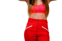 Fit girl with abdomen. Royalty Free Stock Photography