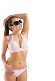 Fit girl in bikini and sunglasses Royalty Free Stock Photo