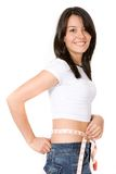 Fit girl on a diet Royalty Free Stock Photos