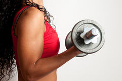 Fit girl with dumbbell. Fit girl working out with a dumbbell Stock Photography