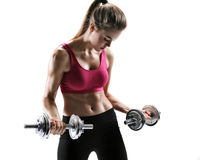 Fit girl with dumbbell Royalty Free Stock Images