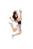 Fit girl with jumping high Stock Image