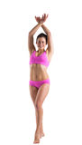 Fit girl in pink bikini posing Stock Images