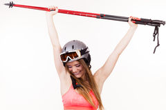 Fit girl with ski poles. Stock Photography