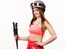 Fit girl with ski poles. Stock Images