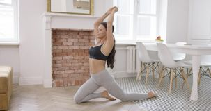 Fit girl stretching body stock footage