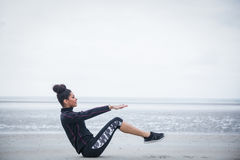 Fit girl working out on cold day Royalty Free Stock Image