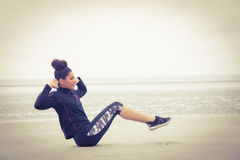 Fit girl working out on cold day Royalty Free Stock Photos