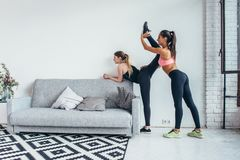 Fit girls preparing legs workout. Leg stretching exercise fitness woman doing warm-up, hamstring muscles stretch. Fit girls preparing legs workout. Leg royalty free stock photos