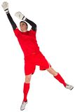 Fit goal keeper jumping up Stock Photography